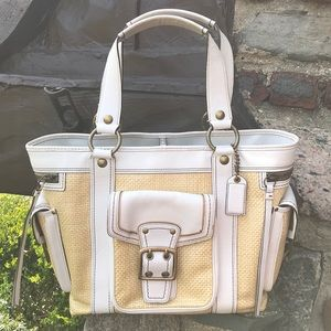 Coach White Leather & Straw Summer Tote Brass